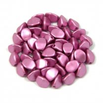 Cseh préselt Pinch gyöngy - fuchsia metallic satin - 5x3mm