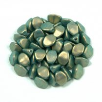 Cseh préselt Pinch gyöngy - dark green golden shine - 5x3mm