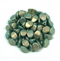 Cseh préselt Pinch gyöngy - dark green golden shine - 5x3mm