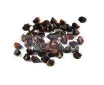 Cseh préselt Pinch gyöngy - piros fekete barna márvány - 5x3mm