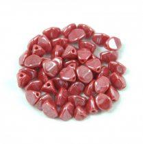 Cseh préselt Pinch gyöngy - Opaque Red Luster - 5x3mm