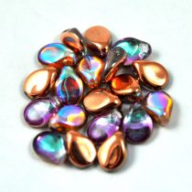 Pip cseh préselt üveggyöngy - Crystal Copper Rainbow - 5x7mm