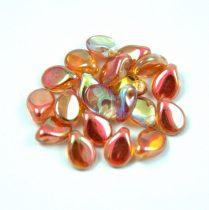 Pip cseh préselt üveggyöngy - Crystal Orange Rainbow - 5x7mm
