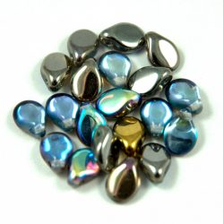 Pip cseh préselt üveggyöngy - Crystal Graphite AB - 5x7mm