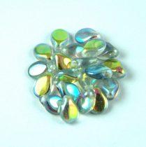 Pip cseh préselt üveggyöngy - Crystal Blue Rainbow - 5x7mm
