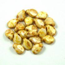 Pip cseh préselt üveggyöngy-02010-86805- fehér barna márvány -5x7mm