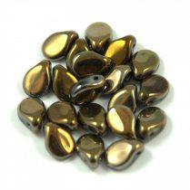 Pip cseh préselt üveggyöngy-23980-22603- metál barna írisz -5x7mm
