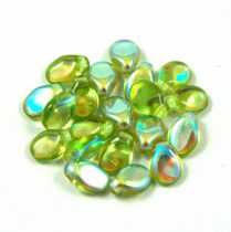 Pip cseh préselt üveggyöngy - Light Olive AB -5x7mm