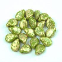 Pip cseh préselt üveggyöngy - Green Pea Gold Patina - 5x7mm