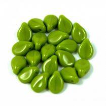 Pip cseh préselt üveggyöngy - Opaque Green Pea - 5x7mm