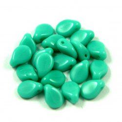 Pip cseh préselt üveggyöngy - Opaque Turquoise Green - 5x7mm