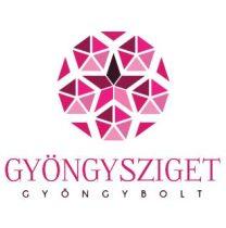 Porcelán gyöngy - 10x8mm - Fekete Piros virágos