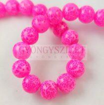 Préselt festett üveggyöngy - 10mm - Neon Pink