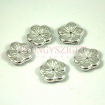 Cseh préselt virág gyöngy - crystal silver - 14mm