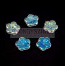 Cseh préselt virág gyöngy - crystal ab - 14mm