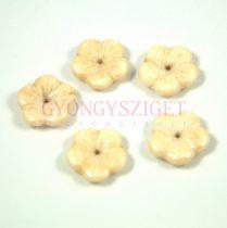 Cseh préselt virág gyöngy - ivory - 14mm