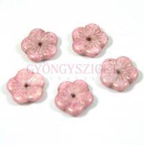 Cseh préselt virág gyöngy - fehér rózsa lüszter - 14mm