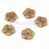 Cseh préselt virág gyöngy - fehér rózsa bronz lüszter - 14mm