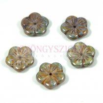 Cseh préselt virág gyöngy - zöld barna márvány - 14mm