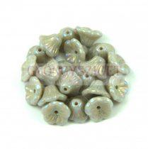 Cseh préselt virág gyöngy - harangvirág - Gray Iris - 7x5mm