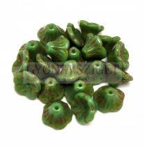 Cseh préselt virág gyöngy - harangvirág - Turquoise Green Picasso - 7x5mm