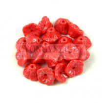 Cseh préselt virág gyöngy - harangvirág - Red Luster - 7x5mm
