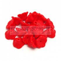 Cseh préselt virág gyöngy - harangvirág - Opaque Red - 7x5mm