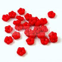 Cseh préselt virág gyöngy - Piros - 5mm