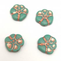 Czech Pressed Glass Bead - Primrose - Turquoise Silver - 15mm