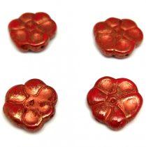 Cseh préselt üveg gyöngy - Primrose - Chilli Bronze Copper - 15mm