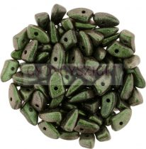 Czech Mates Prong - Jet Polichrome Dark Green - 3x6mm