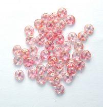 Cseh négylyukú lencse gyöngy - Quadra lentil gyöngy - Transparent Topaz Rose Luster -6mm