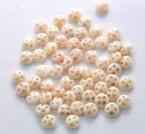 Cseh négylyukú lencse gyöngy - Quadra lentil gyöngy - Luster Opaque Ivory -6mm