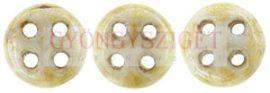 Cseh négylyukú lencse gyöngy - Quadra lentil gyöngy - Alabaster Honey Picasso -6mm