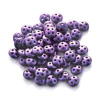 Cseh négylyukú lencse gyöngy - Quadra lentil gyöngy - Matte Metallic Purple -6mm