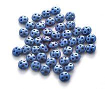 Cseh négylyukú lencse gyöngy - Quadra lentil gyöngy - Matte Metallic Blue -6mm