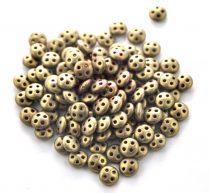 Cseh négylyukú lencse gyöngy - Quadra lentil gyöngy - Matte Metallic Ancient Gold -6mm