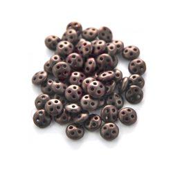 Cseh négylyukú lencse gyöngy - Quadra lentil gyöngy - Matte Dark Bronze -6mm