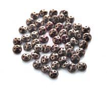 Cseh négylyukú lencse gyöngy - Quadra lentil gyöngy - Dark Bronze -6mm