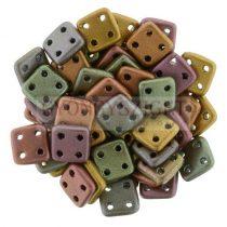 Cseh négylyukú négyzet - Quadra Tile gyöngy - Matte Metallic Bronze Iris - 6x6mm
