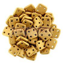 Cseh négylyukú négyzet - Quadra Tile gyöngy - Aztec Gold - 6x6mm