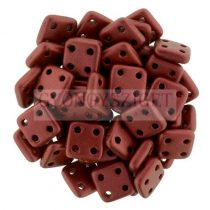 CzechMates 4 Hole QuadraTile Czech Glass Bead -  matte lávadark red - 6x6mm