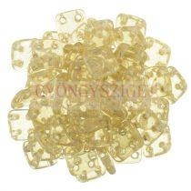 Cseh négylyukú négyzet - Quadra Tile gyöngy - Transparent Luster Champagne - 6x6mm