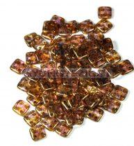 Cseh négylyukú négyzet - Quadra Tile gyöngy - Gold Luster Smoky Topaz - 6x6mm