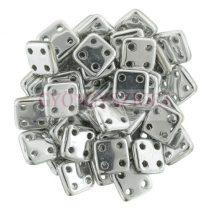 Cseh négylyukú négyzet - Quadra Tile gyöngy -  Silver - 6x6mm