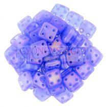 Cseh négylyukú négyzet - Quadra Tile gyöngy - Milky Sapphire Luster Iris - 6x6mm