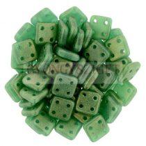 Cseh négylyukú négyzet - Quadra Tile gyöngy - Sueded Gold Atlantis Green - 6x6mm
