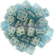 Cseh négylyukú négyzet - Quadra Tile gyöngy - Sueded Gold Teal - 6x6mm