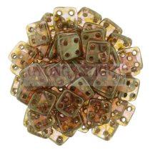 Cseh négylyukú négyzet - Quadra Tile gyöngy - Crystal Rose Gold Luster - 6x6mm
