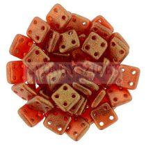 Cseh négylyukú négyzet - Quadra Tile gyöngy - Sueded Gold Ruby - 6x6mm